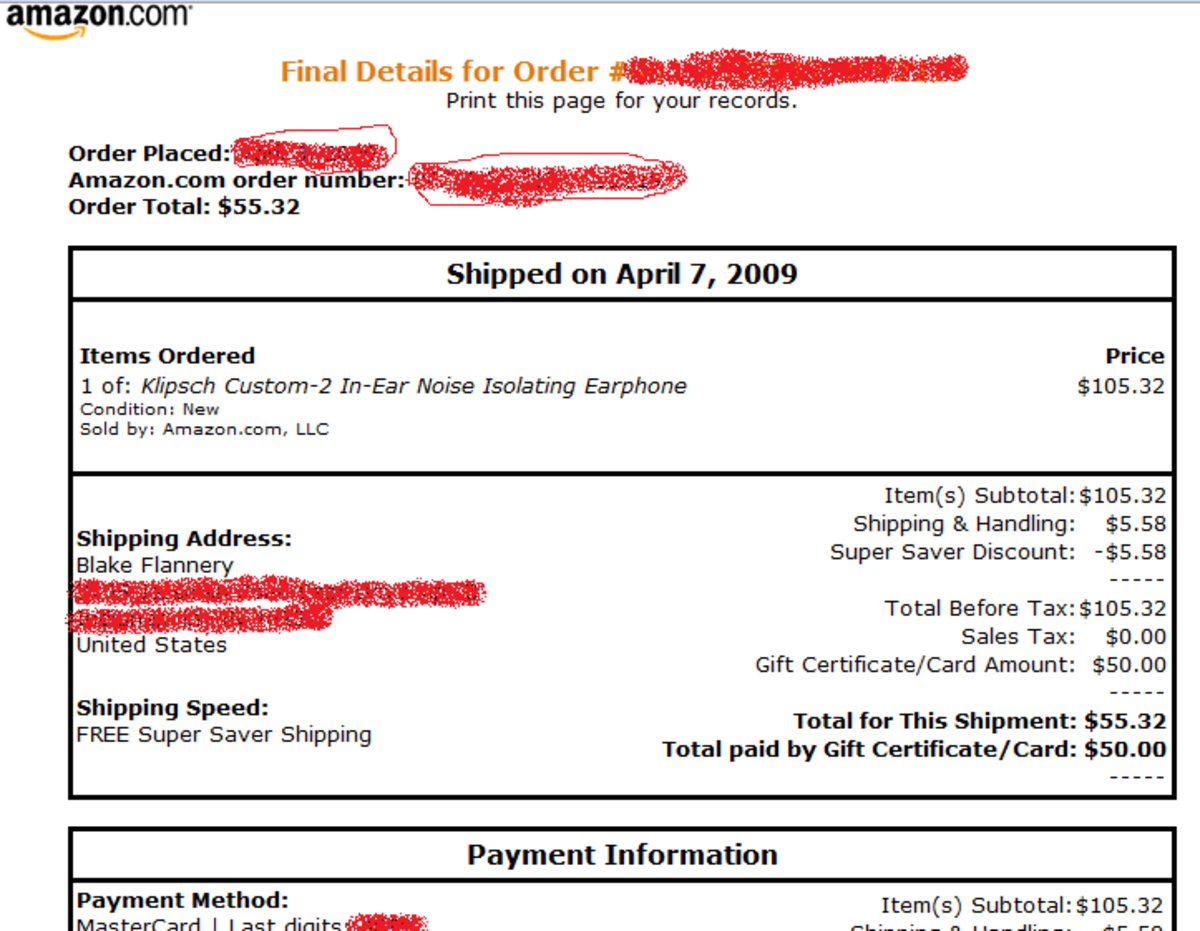 Here is what the Amazon.com invoice looks like for the Klipsch headphones