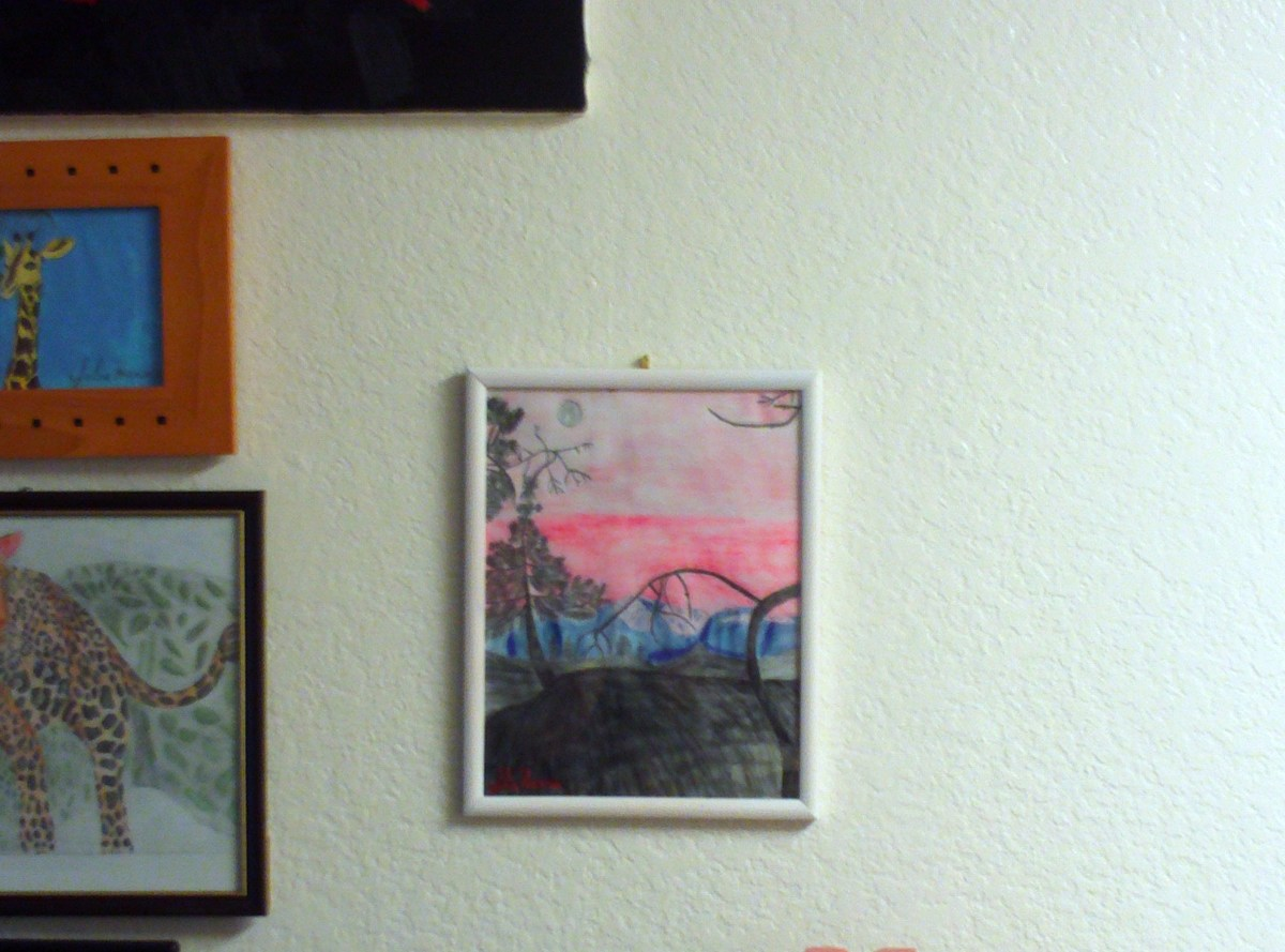 Here is my frame forest sunset sketch hanging on the wall.