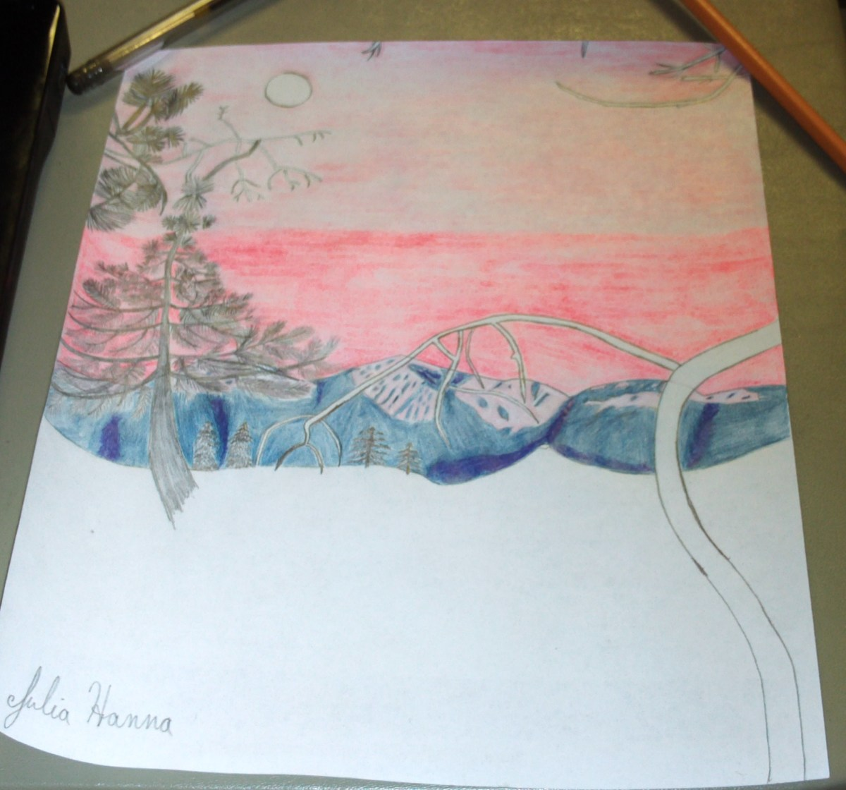 Here I finished coloring in the sunset portion of the sky.