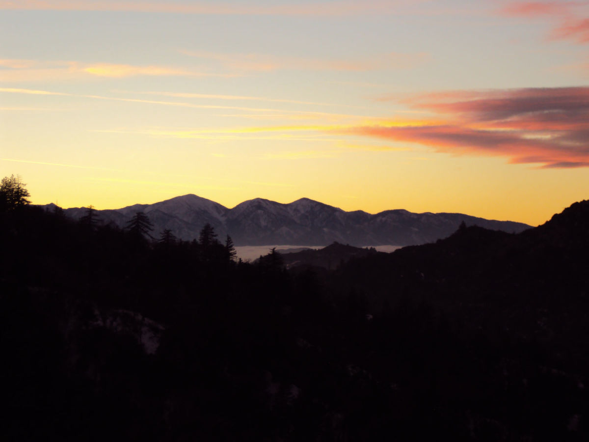 Sunset photograph of Mount Baldy.
