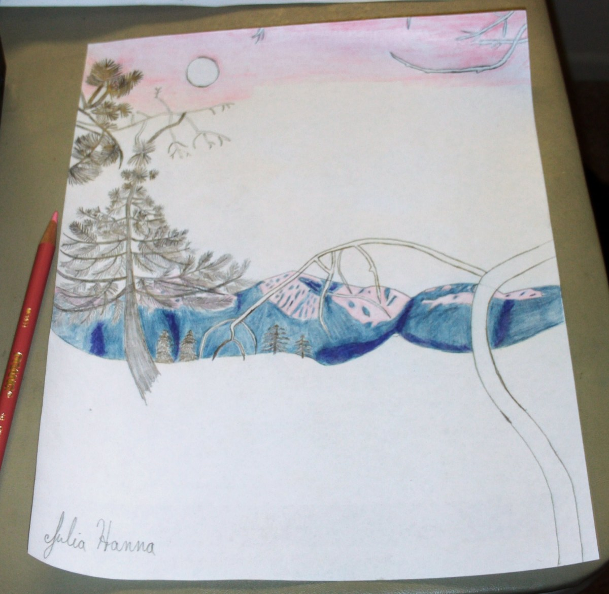 In this phase of the sketch I am adding the light pink color to the sky.