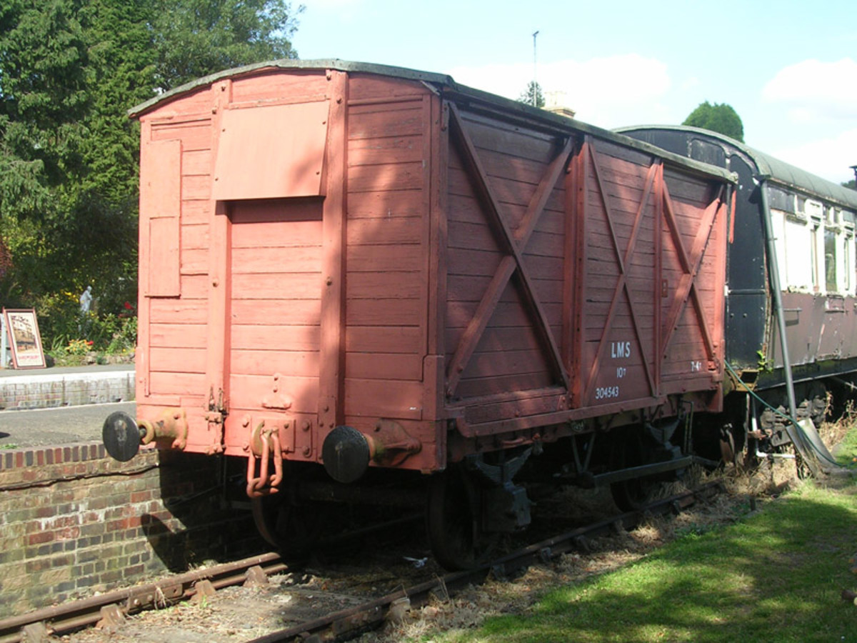 Ex-LMS Cadbury 'ventilated' van of an earlier vintage with timber plank body, sliding doors (to avoid accidents) and 'X' frame sides