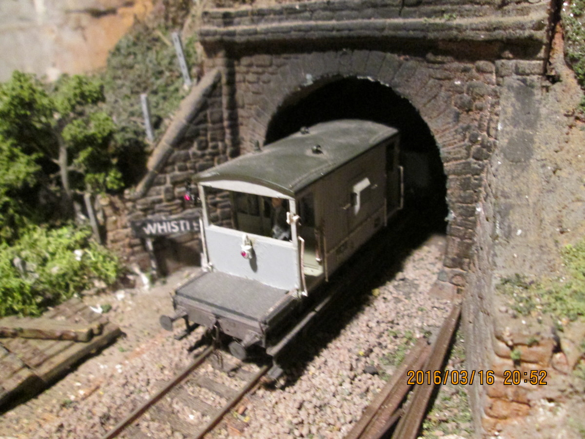 Unfitted version of the same vehicle about to enter Ayton Row tunnel for Thoraldby past the goods shed turnout (see bottom of page: 'Brake Vans great and small')