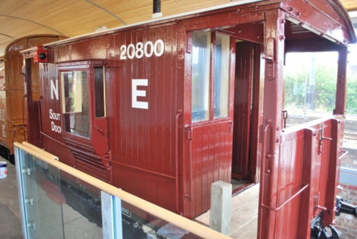 Close-up of NER 'Toad B' brakevan with guard's ducket cut away to allow visitors a view inside without boarding