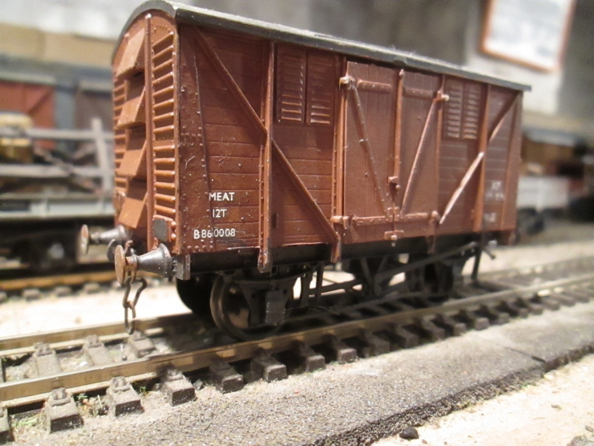 Airfix/Dapol British Railways' Meat Van with Parkside underframe and Romford cast brass buffers