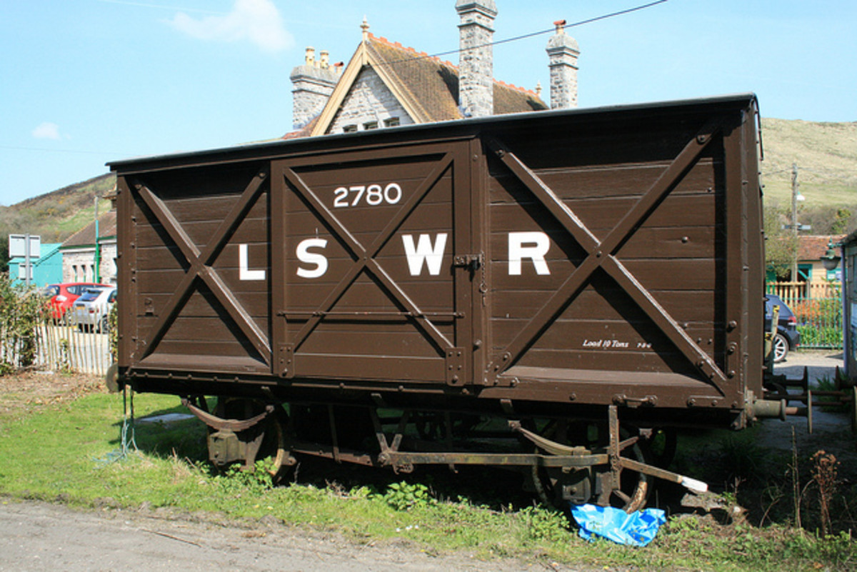 London & South Western Railway (LSWR) van in period 'chocolate' livery, cross-bracing on both ends and doors