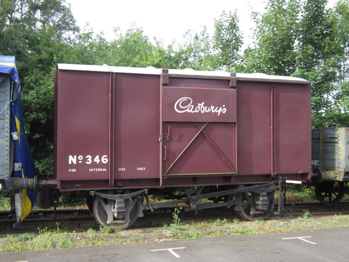 """Internal user"" plywood bodied, metal framed Cadbury's chocolate van on the Severn Valley Railway"