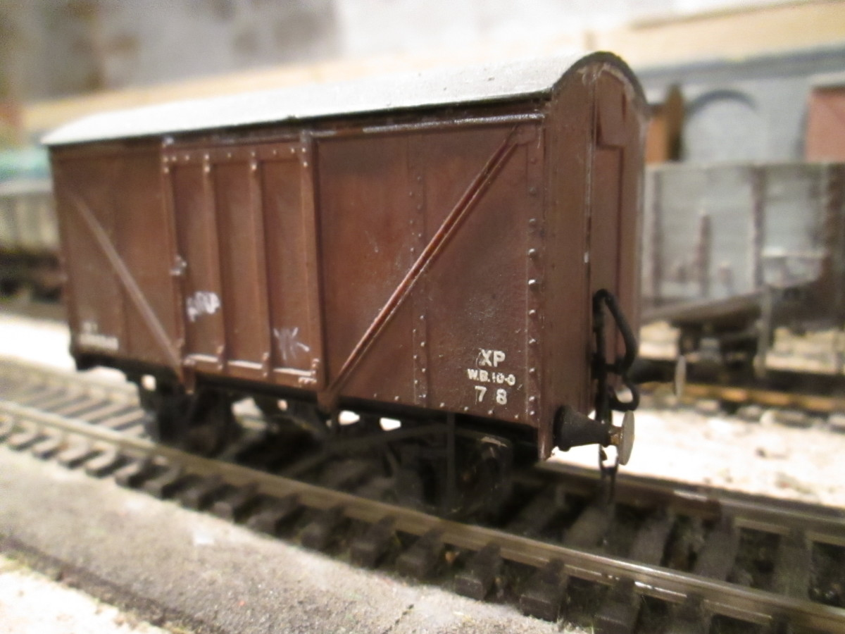 Former LNER post-War plywood sided van - wartime and post-war materials shortages saw plywood being used as a stopgap measure by the railway companies (Parkside kit)