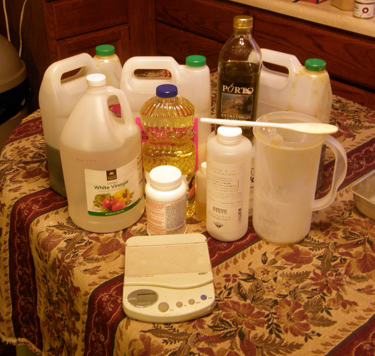 Supplies and equipment for making soap.