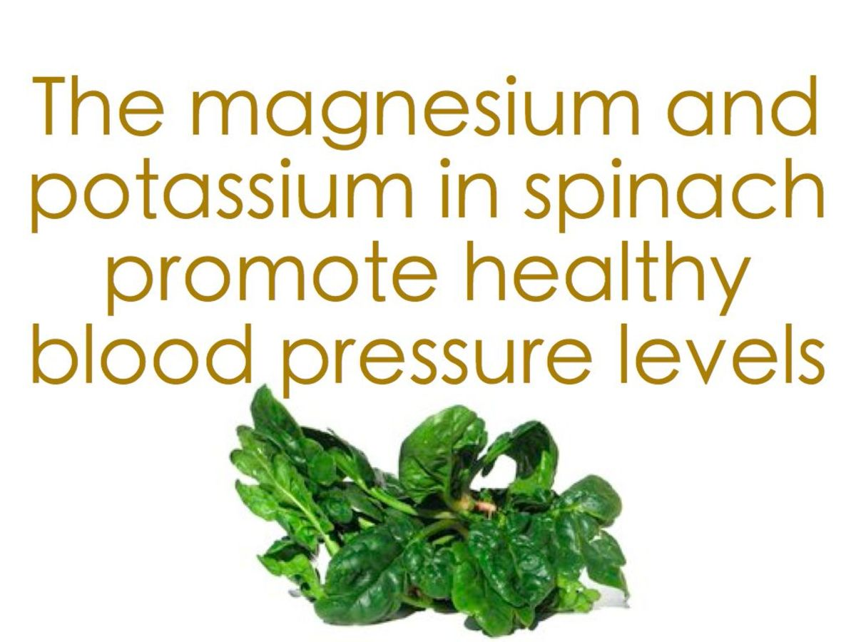 Spinach can lower blood pressure.