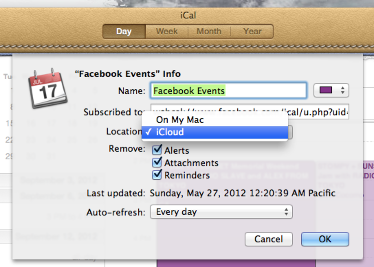 "Be sure to change the iCal calendar ""Location"" to ""iCloud"" so that your Facebook calendar will be pushed to your iPhone"