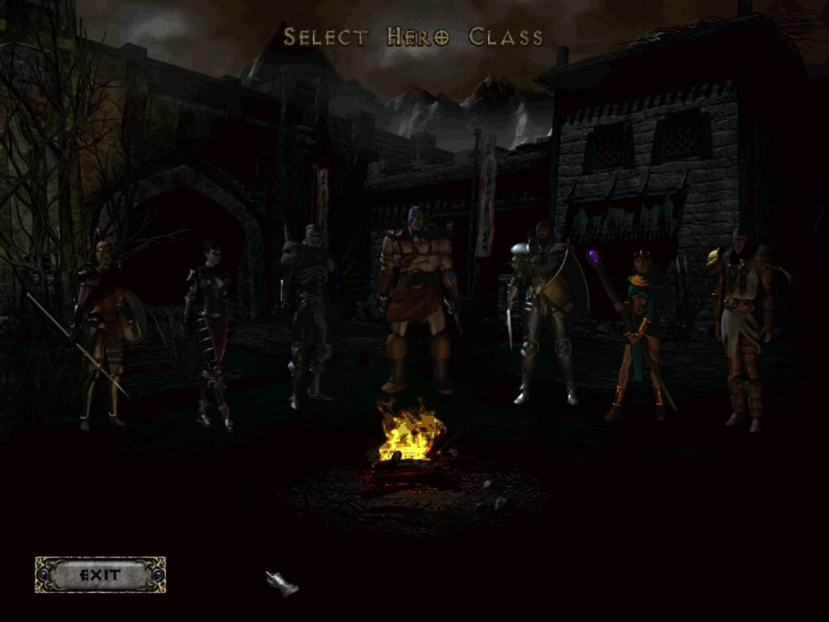 Select your hero at this screen. The characters include the Amazon, the Assassin, the Necromancer, the Barbarian, the Paladin, the Sorceress and the Druid.