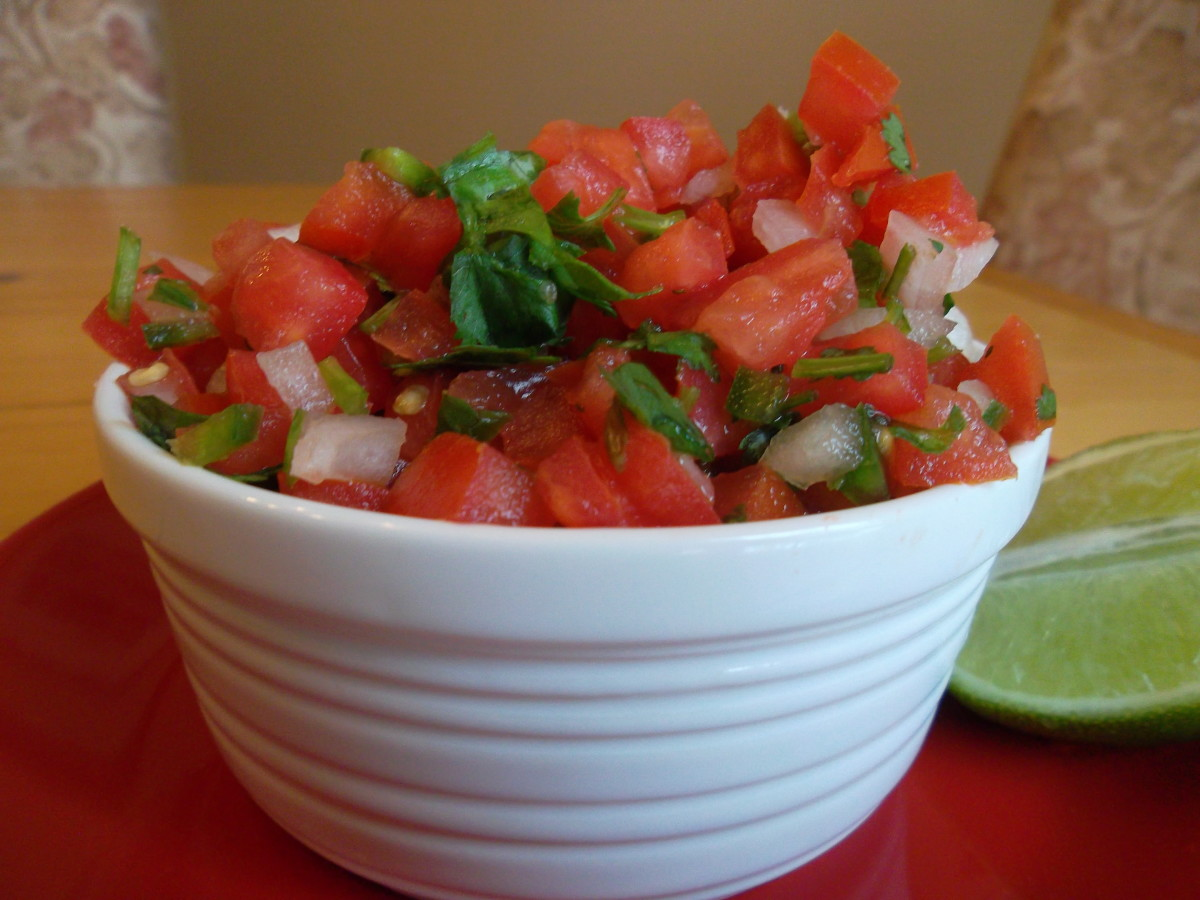 I made Salsa Mexicana, or pico de gallo, from the Epicurious Overview & Salsas class.