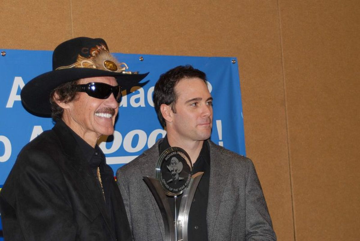 Johnson with legend Richard Petty.