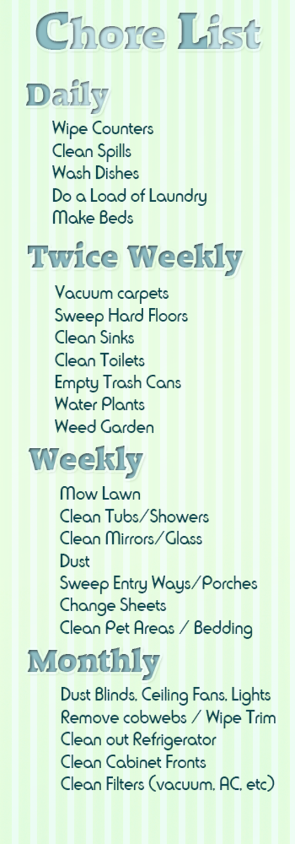our family chore list click to see the full version it includes our daily