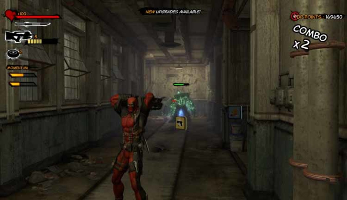 Deadpool runs up and down the corridor and uses the backflip pulse rifle shooting technique on the green marauder type monster.