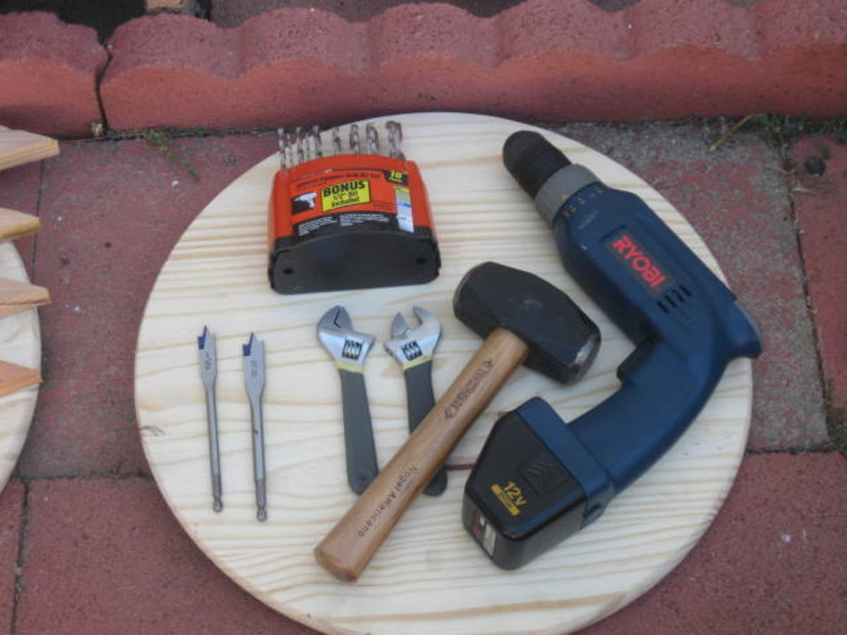 Tools Needed for building the birdbath fountain easy to adjust and level foundation.