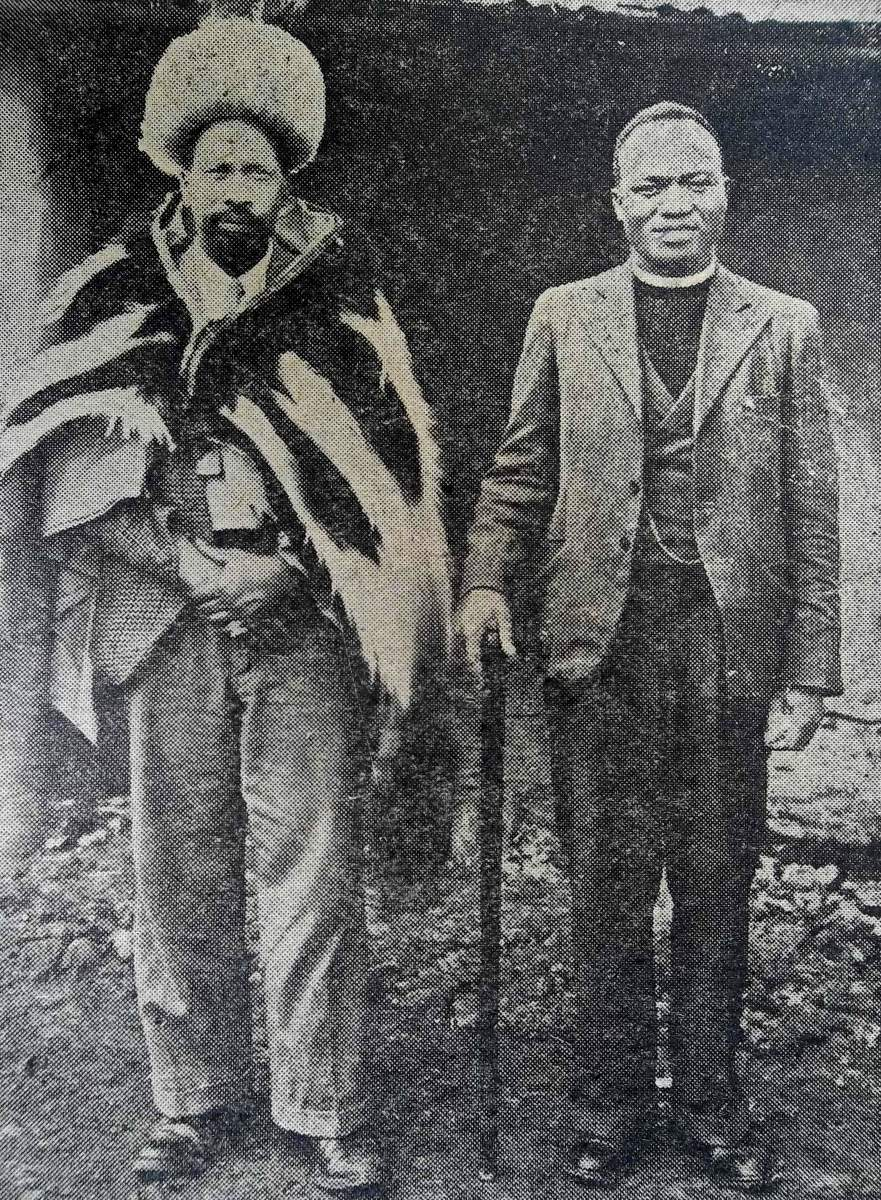 In 1946, Kenyatta returned from Britain to give life to nationalist movements. He seen here with Semacula Mulumba who accompanied him from Britain.