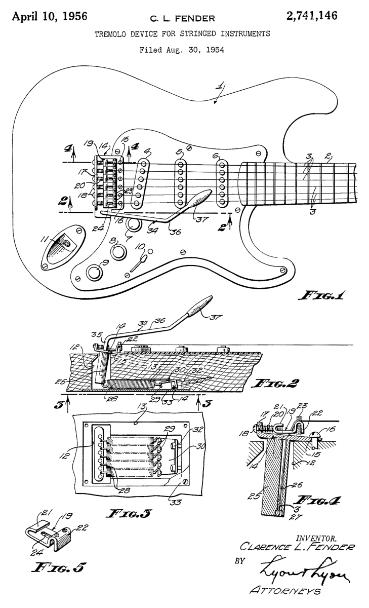 Sketch of the tremolo system on the Fender Stratocaster, from Leo Fender's original patent application.