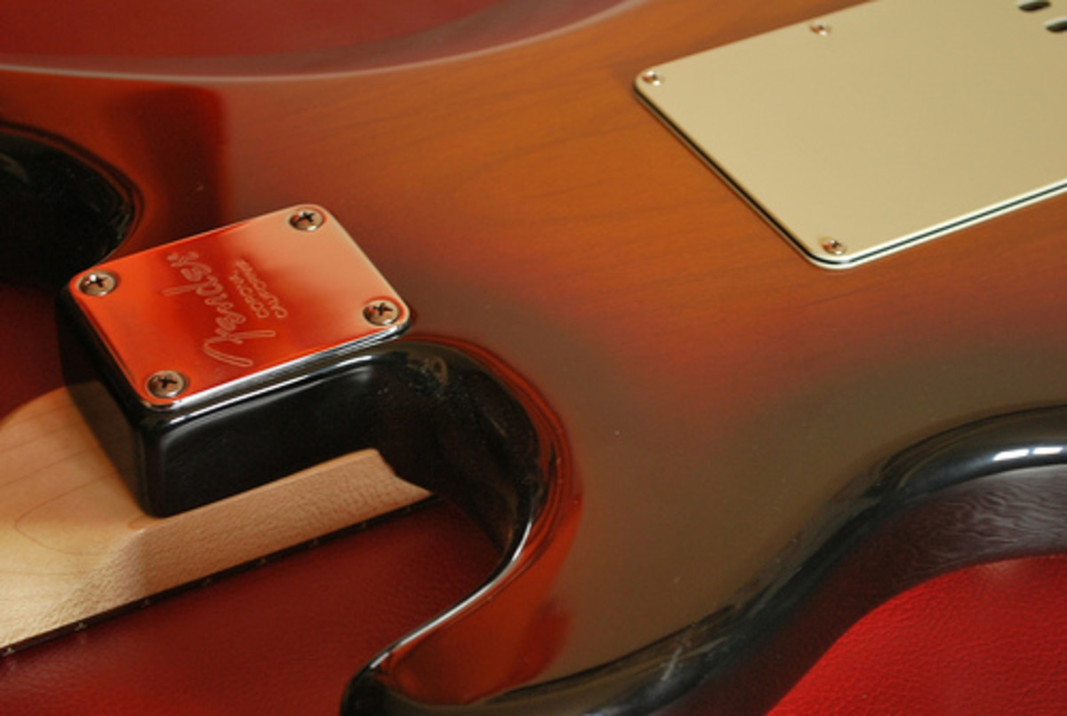 Back of a 2008 Fender Stratocaster Kenny Wayne Shepherd Signature, showing the holding plate and four screws of the Strat's bolt-on neck (as the well as the backplate that protects the guitar's bridge)