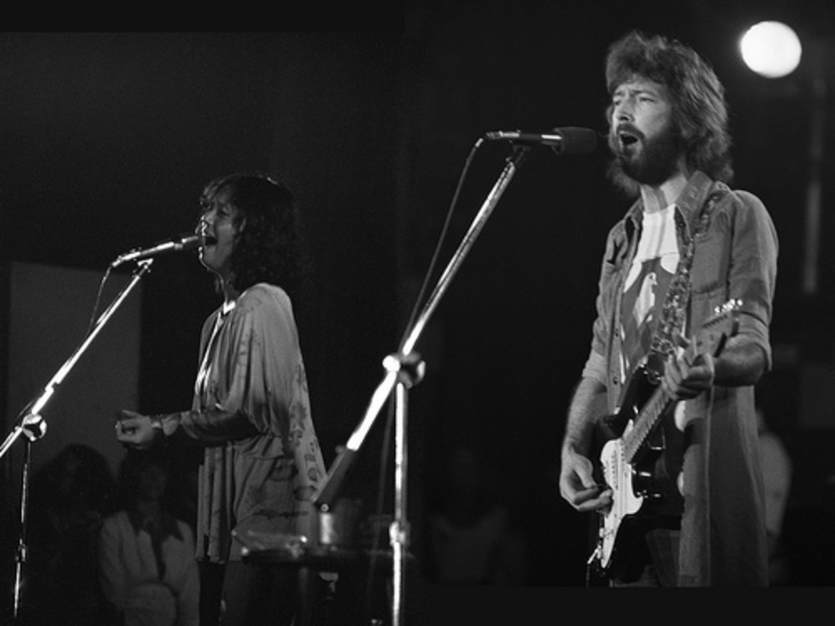 Eric Clapton playing his Fender Stratocaster 'Blackie,' while singing with Yvonne Elliman.