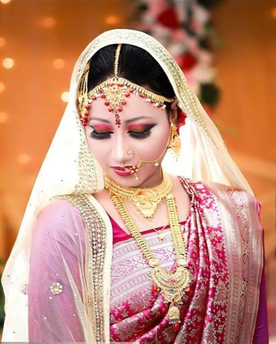 A shy bride in red.