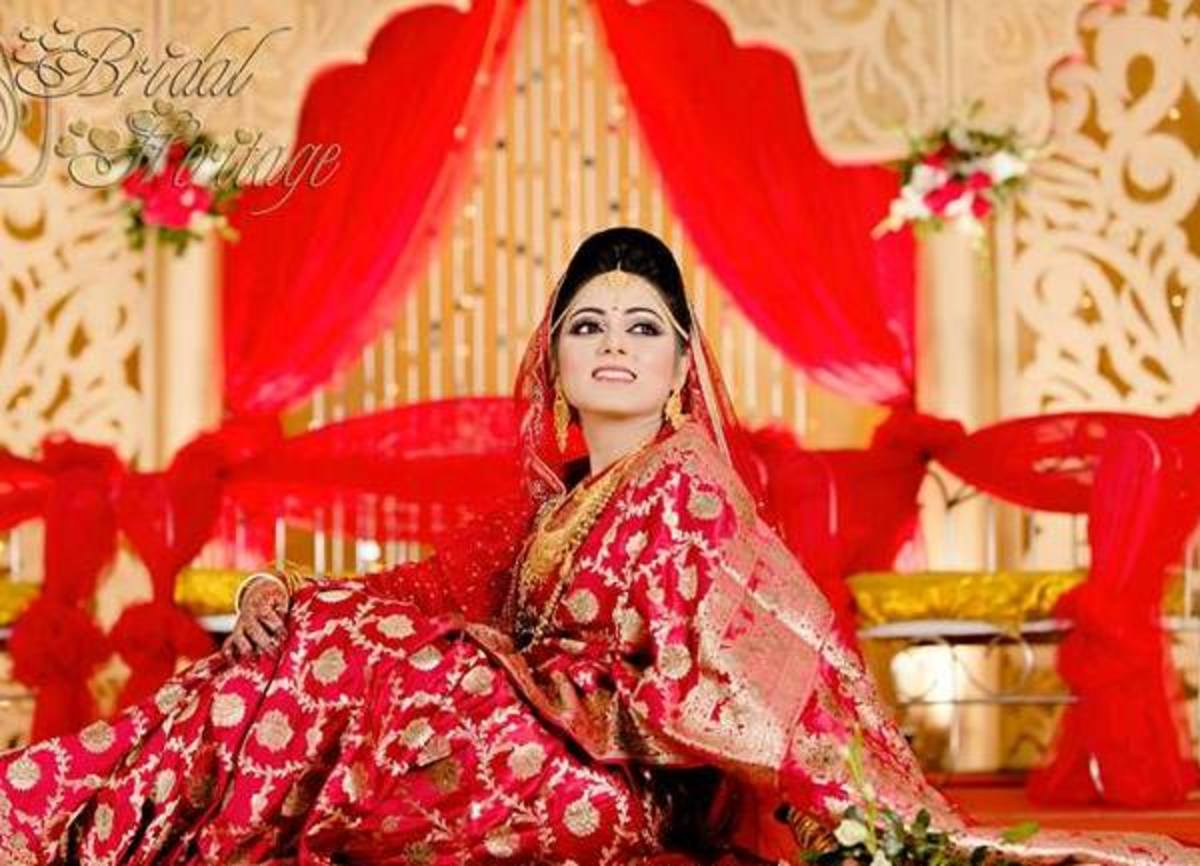 Katan wedding saree in red.