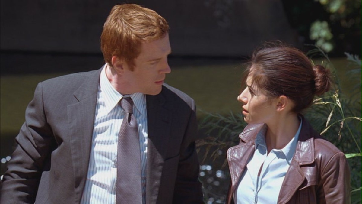 "Damian Lewis and Sarah Shahi in ""Pilot: Merit Badge"""