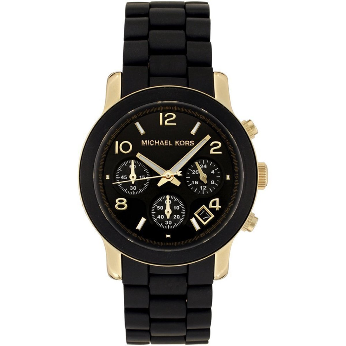 Michael Kors Quartz, Black Dial with Black Goldtone Bracelet watch.