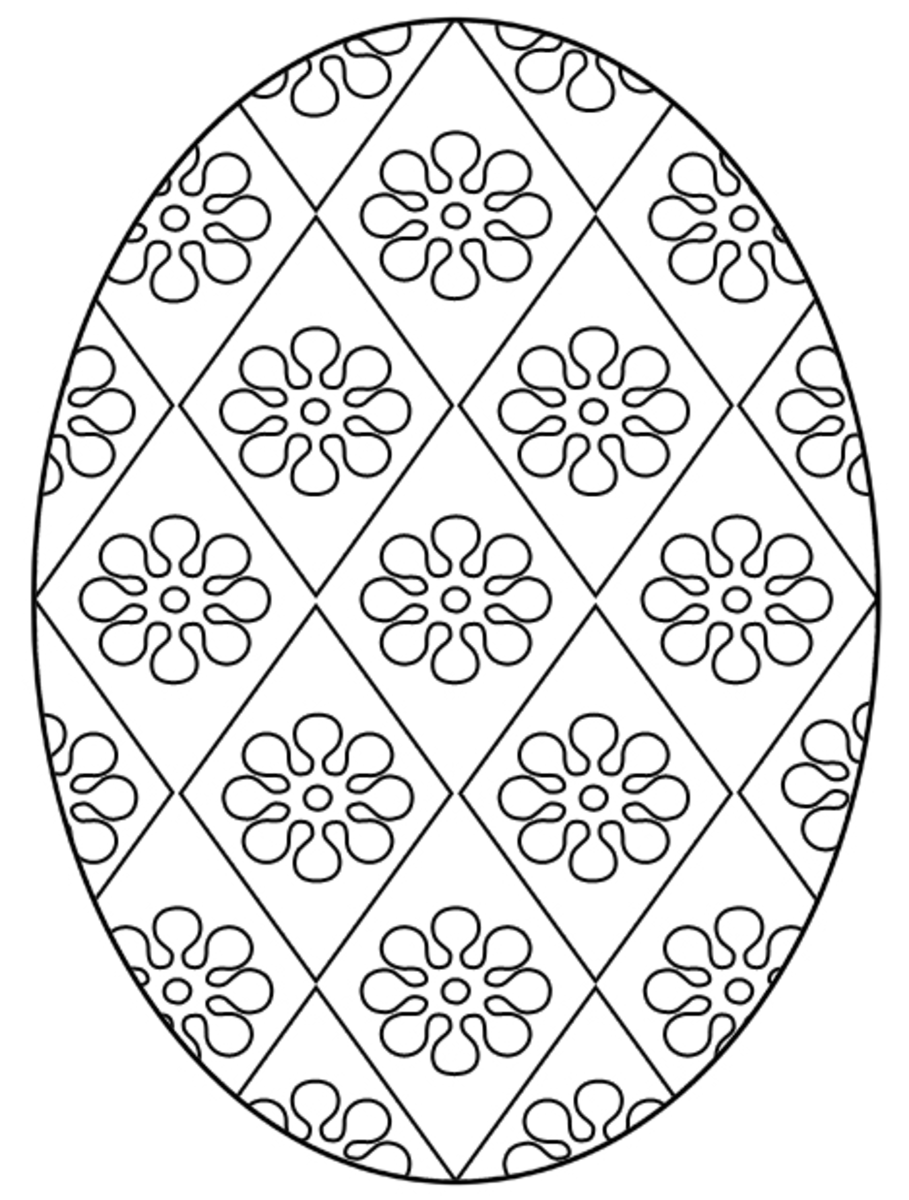 Here's another flower-based Easter egg coloring page.