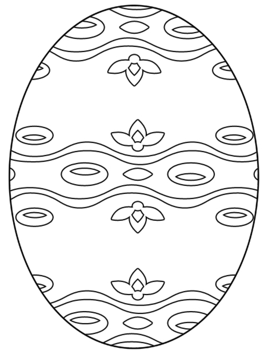 Free floral Easter egg coloring page.