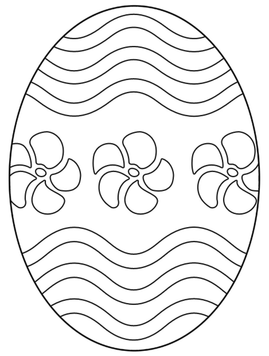 Free Easter egg coloring page with flowers and wavy lines. Just right click, save, and print.