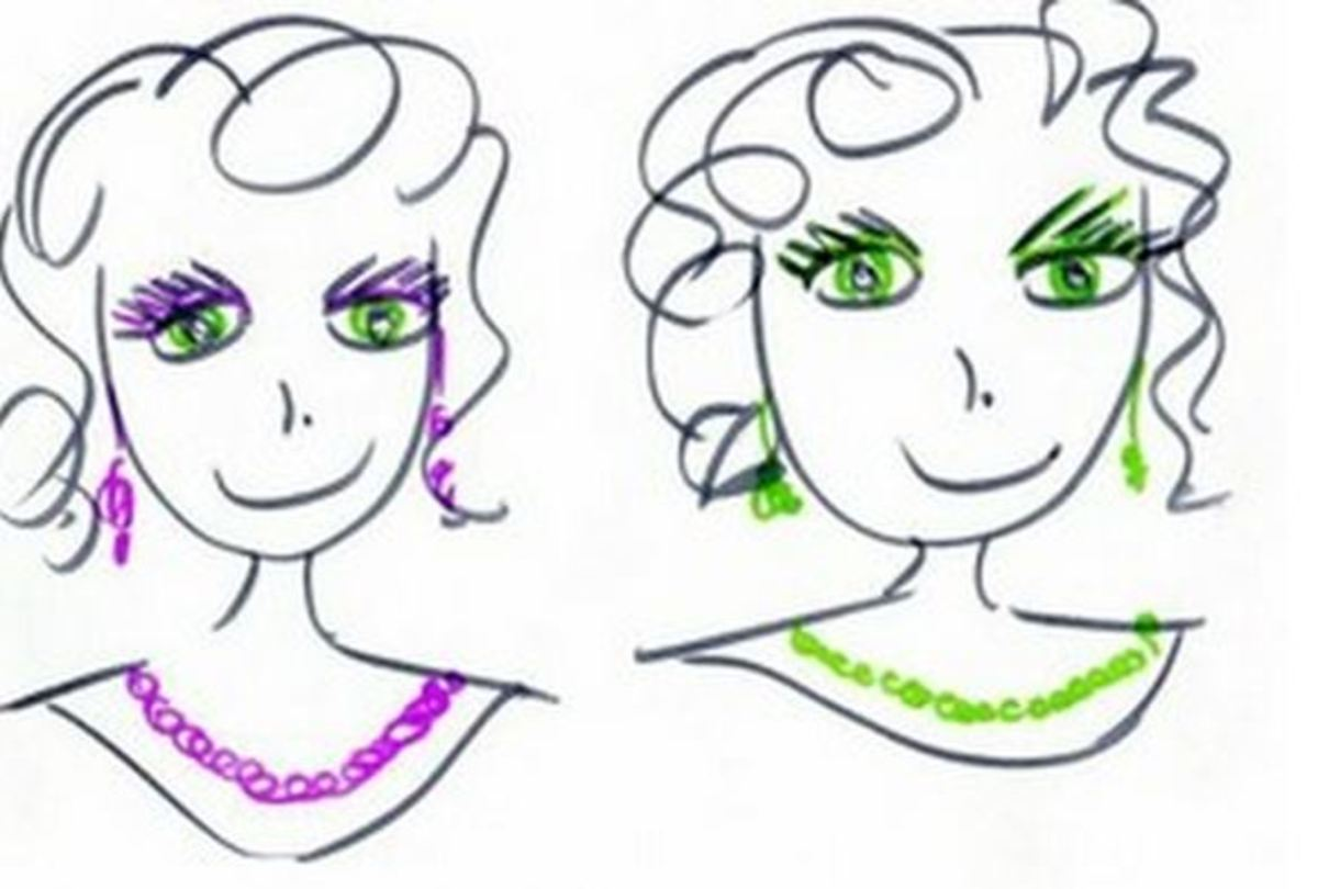 Which makes the green eyes stand out to you more, purple makeup and accessories or green?