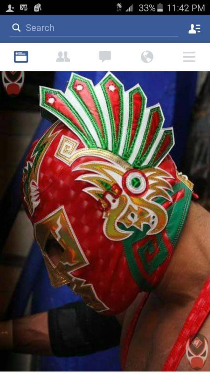 Wagner's mask with Aztec's design