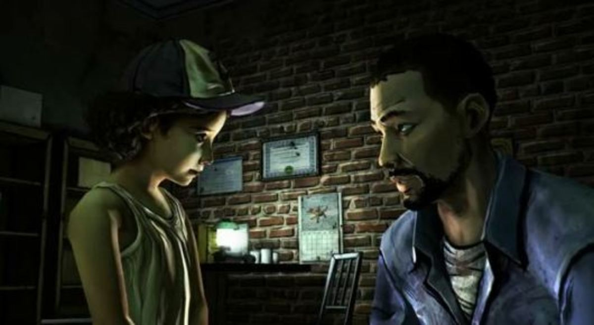 Clementine and Lee in season one of Telltale's The Walking Dead.