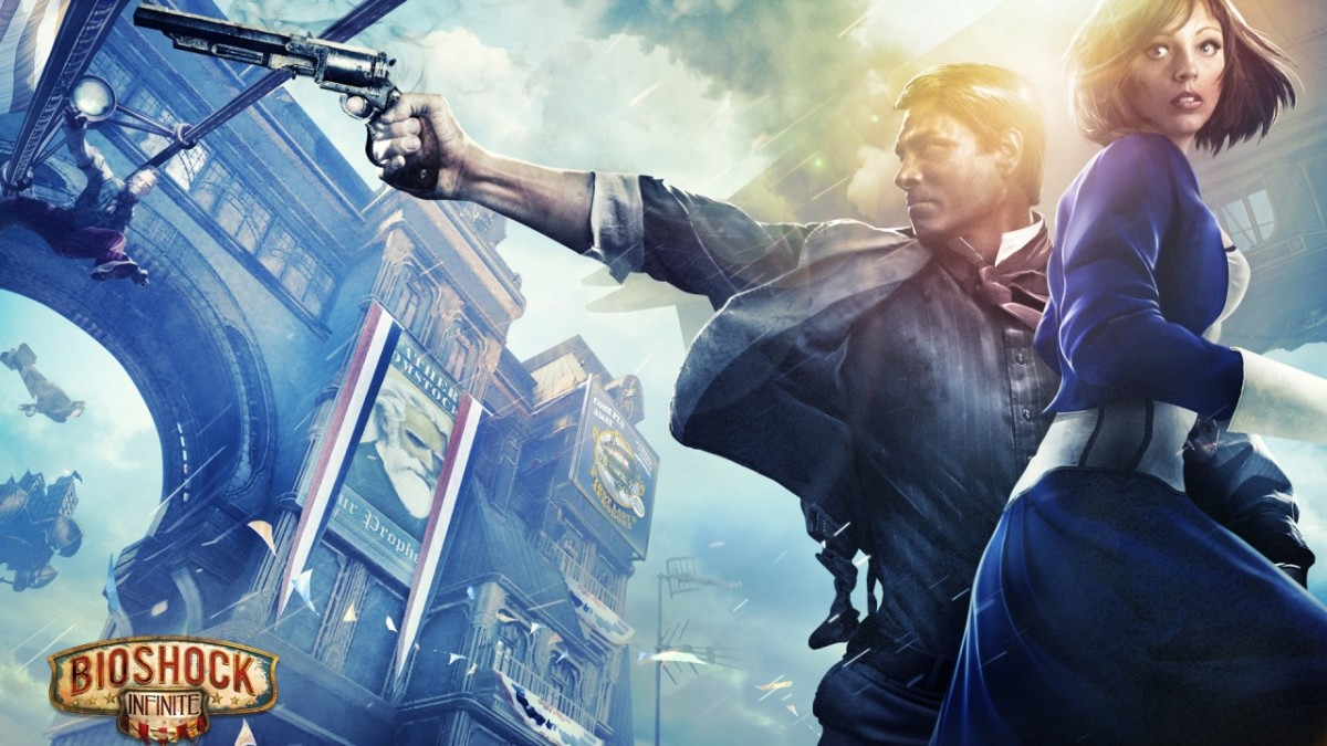 Promotional image of Bioshock: Infinite showing Booker and Elizabeth.
