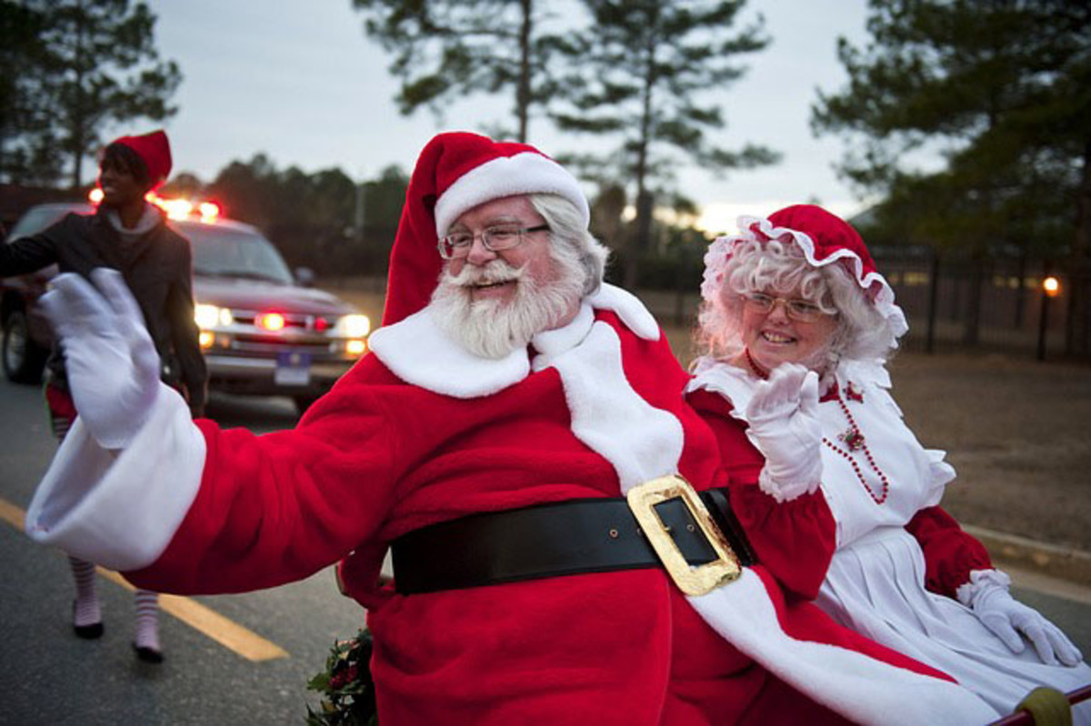 Santa Claus and Mrs. Claus making their debut in a Christmas Parade.