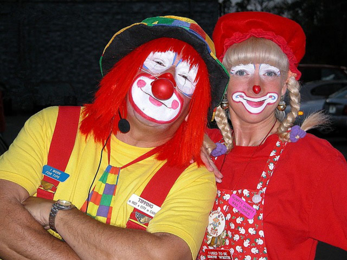 He and she are clowning around.