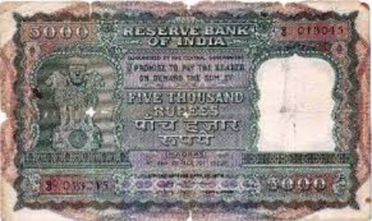 Banned Old Currency Note of Rs.5,000