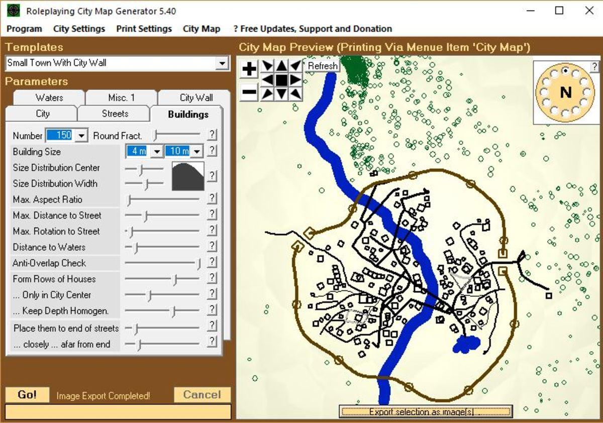Screenshot: Roleplaying City Map Generator