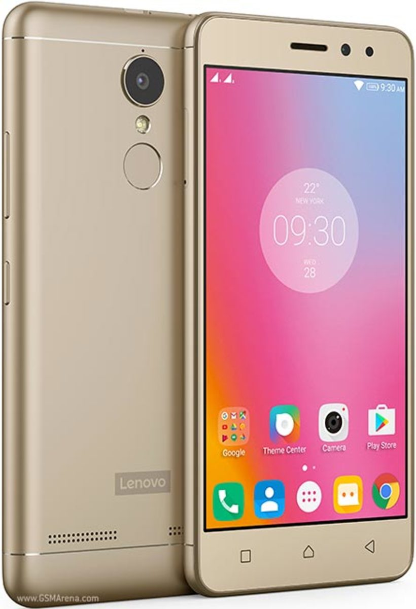 The front and back of a Golden Lenovo K6 Power