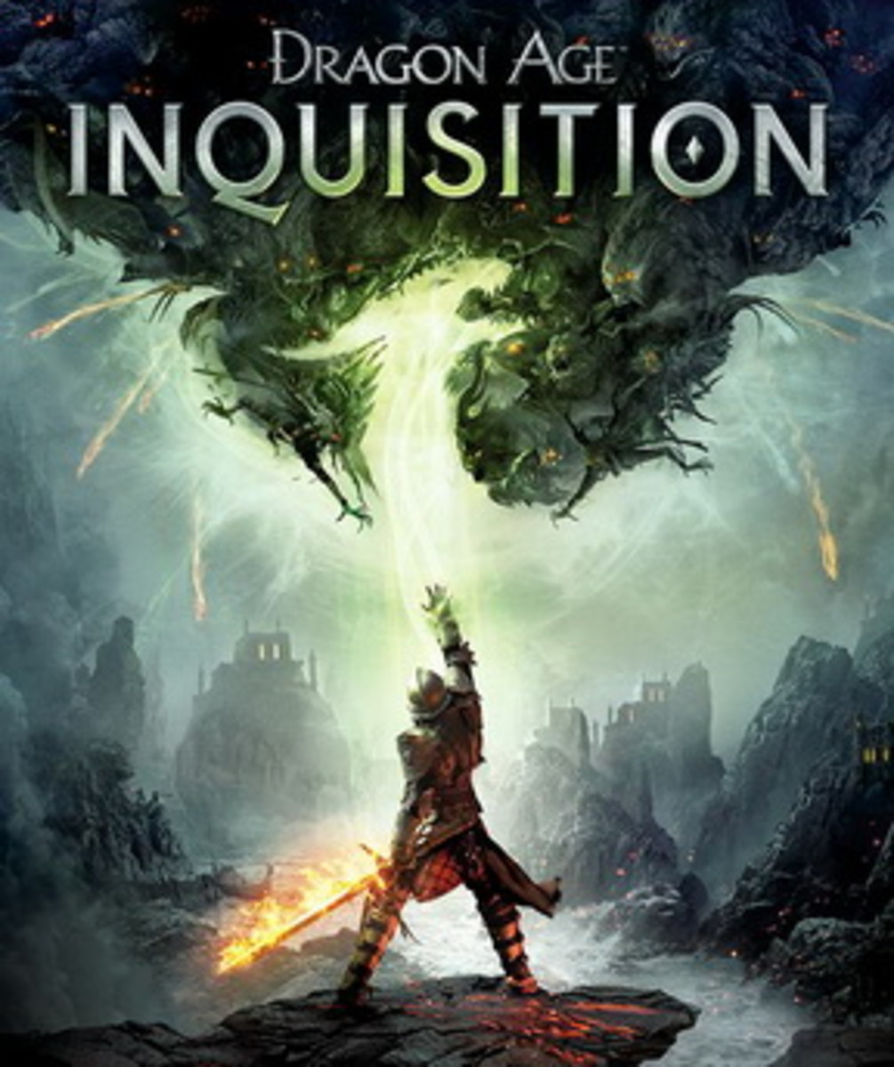 This is the cover art for Dragon Age: Inquisition. The cover art copyright is believed to belong to BioWare or Electronic Arts.