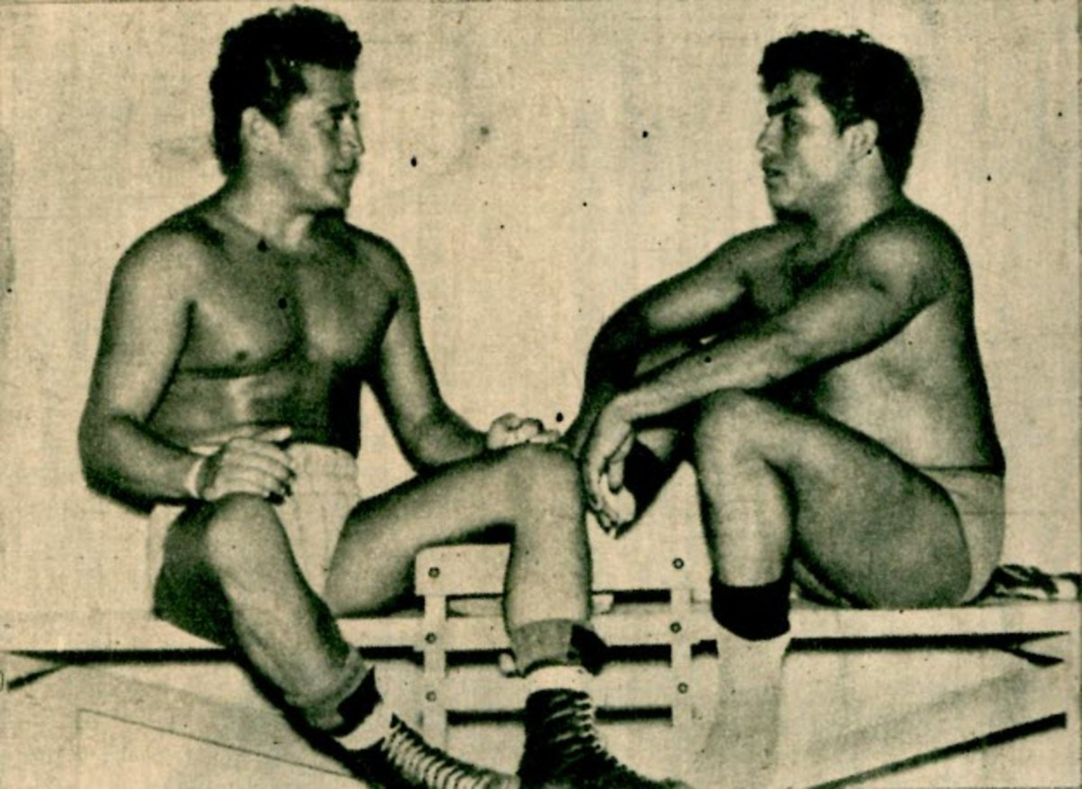 Karloff Lagarde and Rene Guajardo, Los Rebeldes. Special thanks to Fredo Esparza for discovering this photo