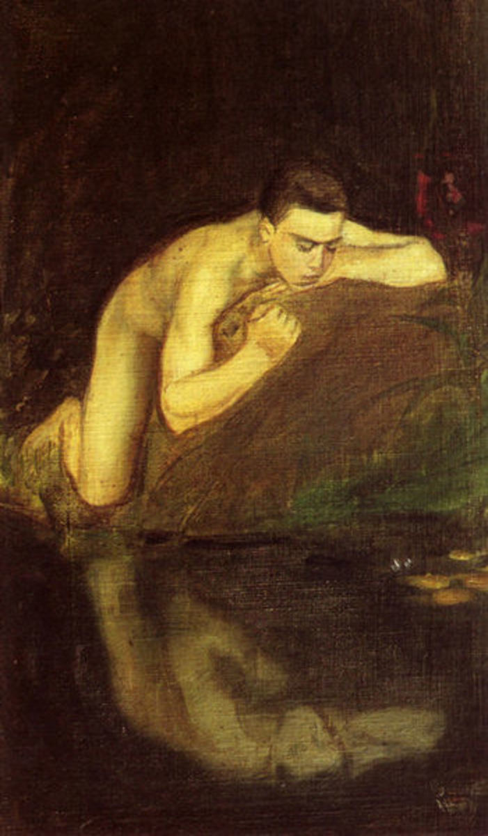Enckel's 'Narcissos' an artistic depiction of Greek mythological figure Narcissus, who became infatuated with his own reflection in a pond. He spent the rest of his life admiring himself.