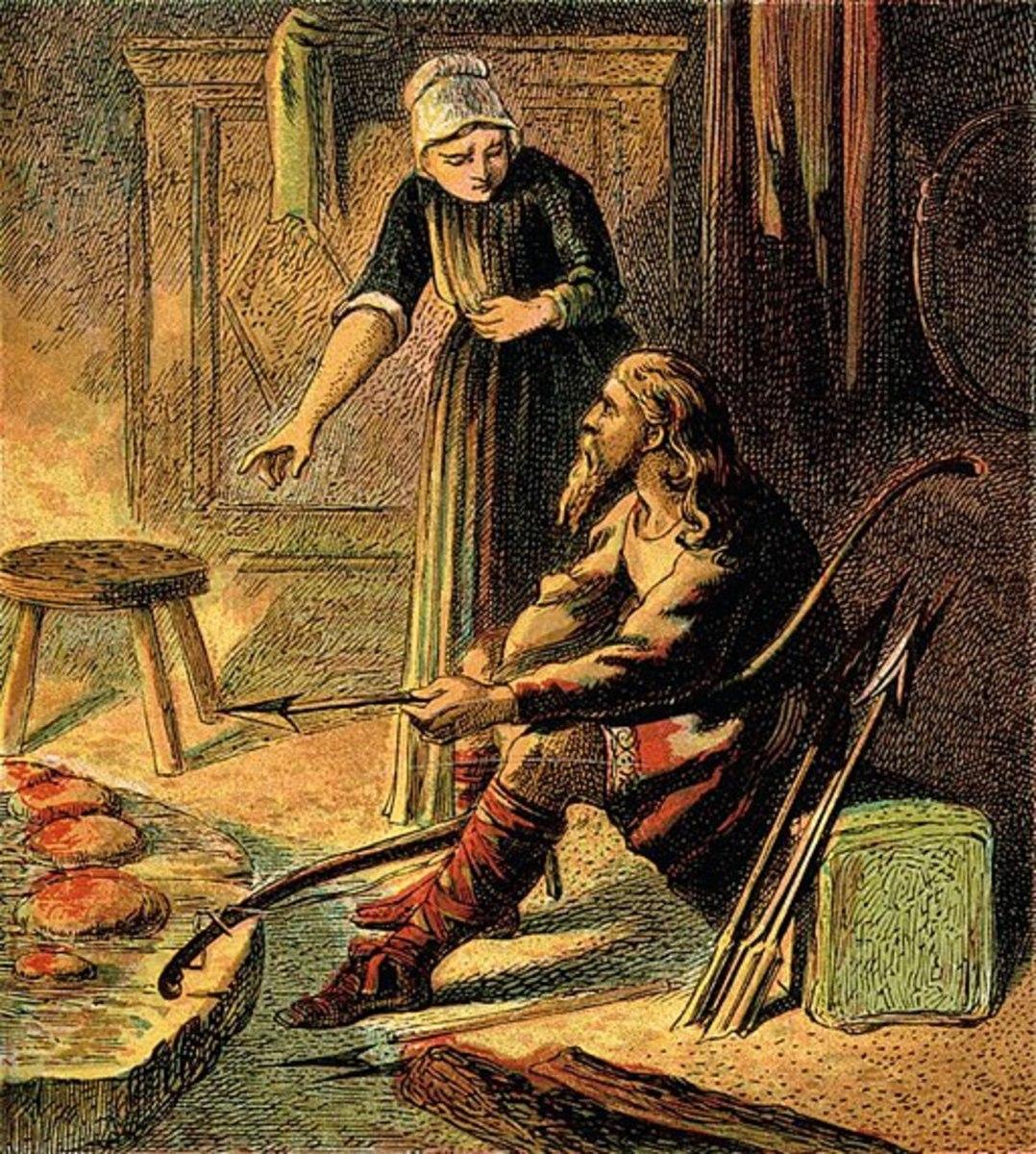 King Alfred Burns the Cakes. Attribution: Joseph Martin Kronheim (1810 - 96)