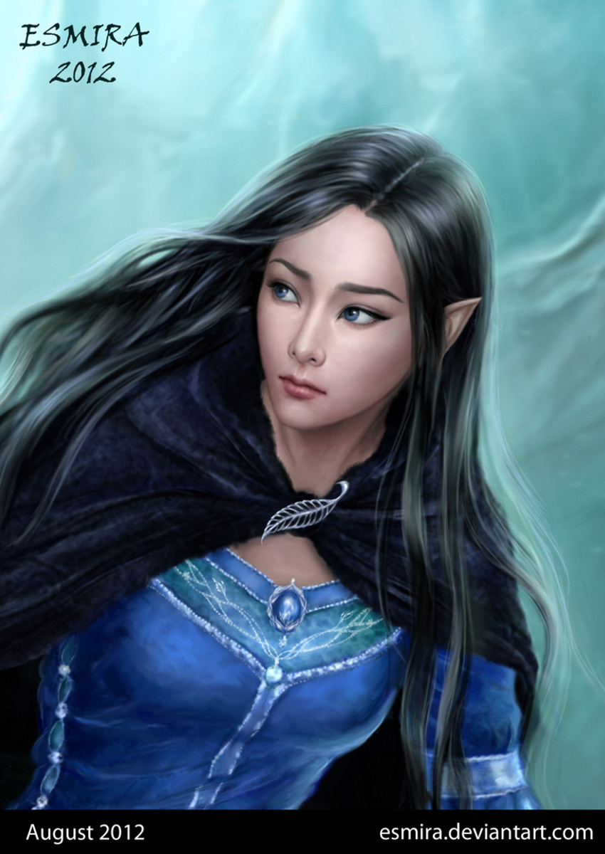 Luthien by Esmira.  The ancestor of Arwen whom it is said she looks very similar to.  Her actions and suffering contributed to victories of the First Age and laid the foundation for the eras that followed.