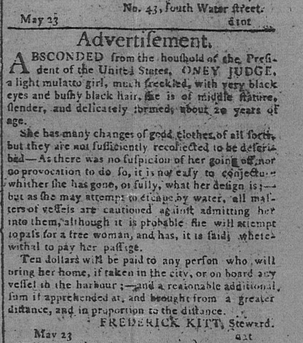 An advertisement seeking Oney Judge's return.