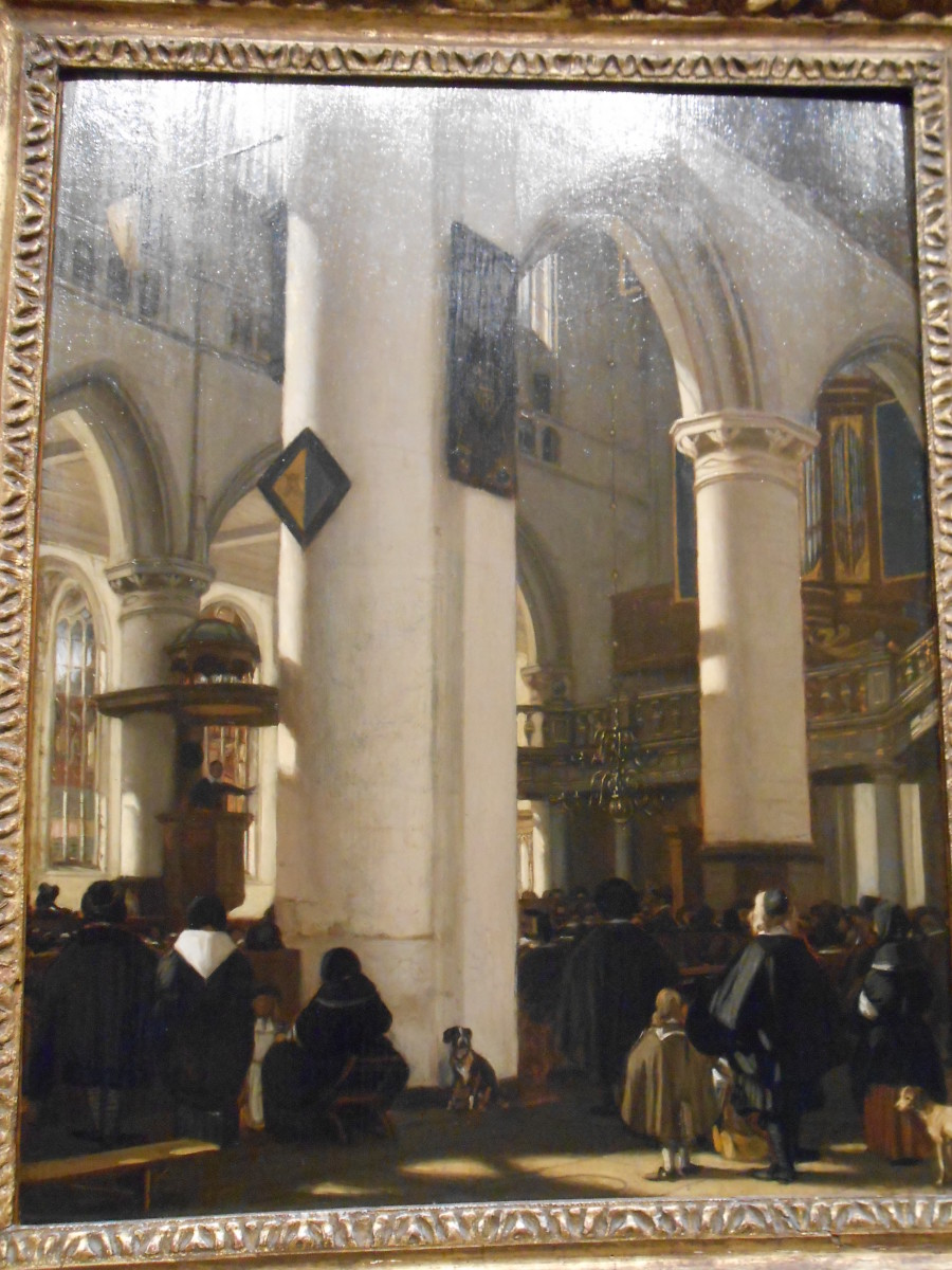 Painting of inside of a church, a favorite subject of Pieter Janse Saenredam.