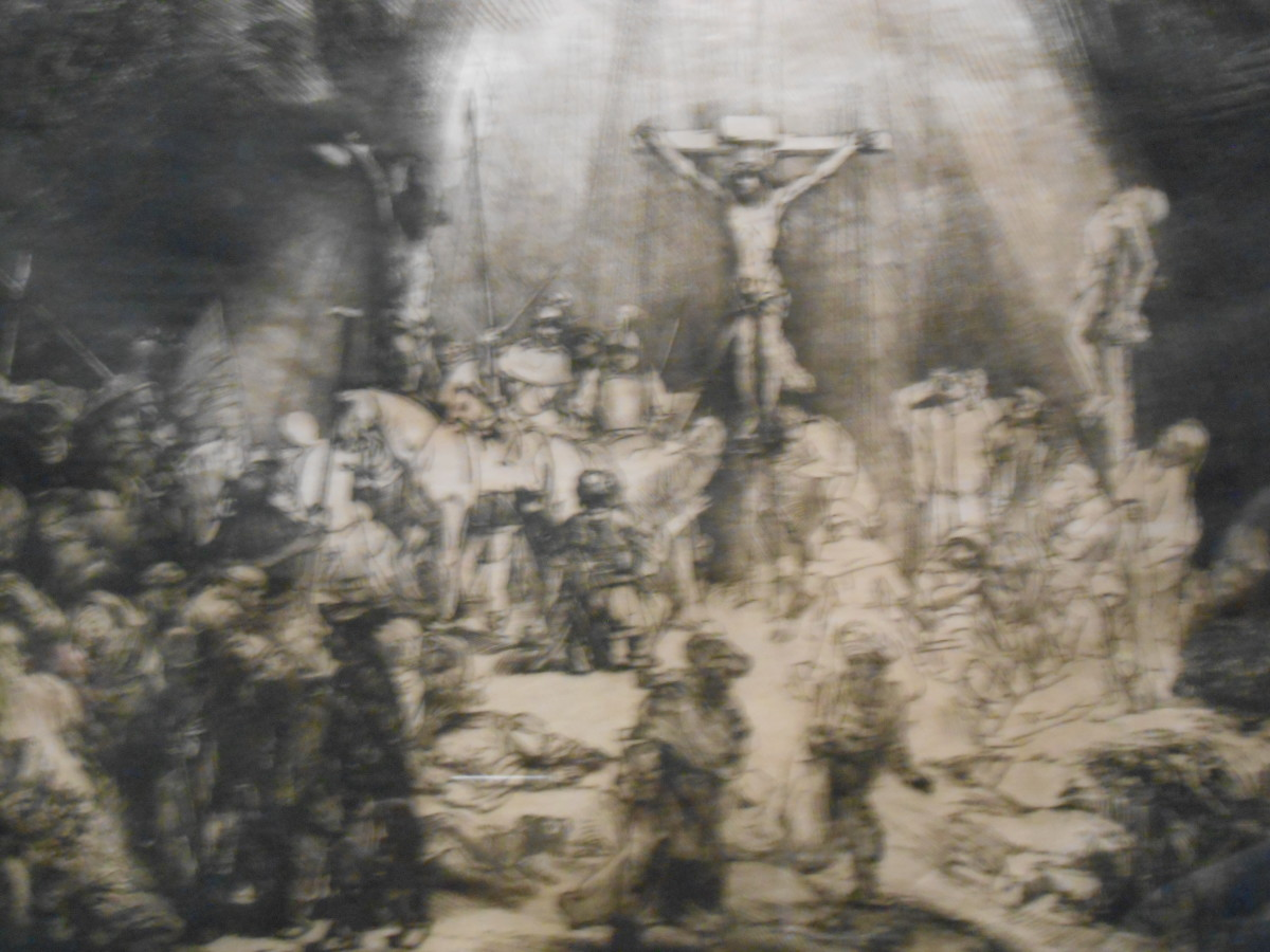 Etching of Christ's death by Rembrandt