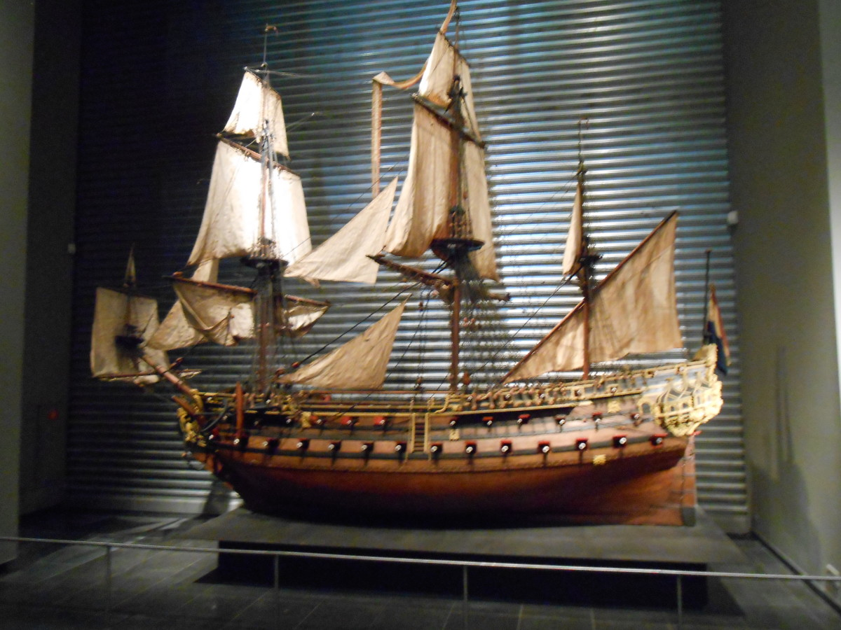 Model of a ship at the Rijk's museum. The model is approximately 12 feet tall and 16 feet long.